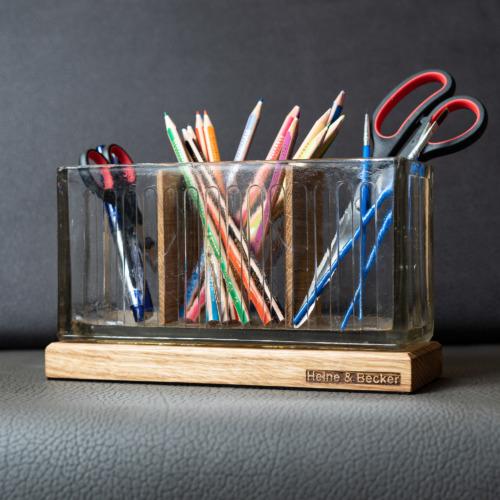 Stiftehalter aus einem Glasbaustein